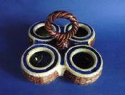 Victorian Majolica 'Rope Twist and Basket Weave' Egg Holder c1880